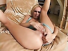 Blonde fingering and masturbating
