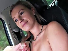 Blonde babe alena gets her tight pussy stretched outdoors