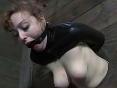 Restrained to a wall Dixon Mason toyed and fucked BDSM