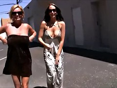 sexy blonde and burnette out in public showing off all they can without getting caught