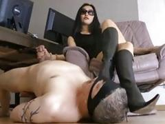 Hot mistress makes her slave horny with her heels BDSM