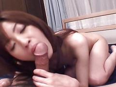 Cute asian dazzles with sexual knob saddling