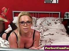 Doggystyled busty brit gets cum in mouth