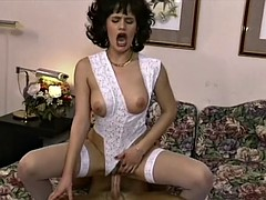 Brunette housewife fucked in sexy lingerie bedroom