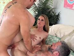Sexy slut loves feeding her submissive sex slave cum