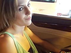 Pulled american babe POV riding dick in car