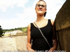 Huge tits Eurobabe Katia cum on glasses by stranger guy