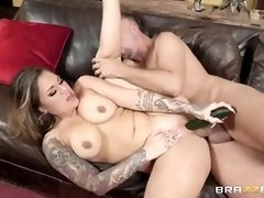 Busty blonde was caught rubbing her soaking wet pussy and ended up fucked, like never before