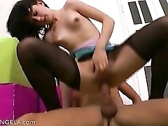 Ripped black pantyhose on hardcore teen slut