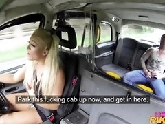 Smashing blonde taxi driver, Rebecca Jane Smyth likes to fuck her clients on the back seat