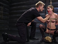 Tied up slave bitch loves to please her master