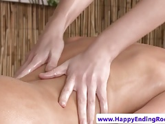 Lesbian masseuse fingering beautiful dyke gal