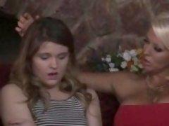 Lesbian teen fingers milf