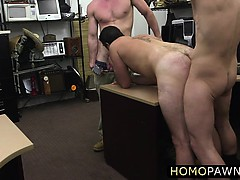 Gay bareback threesome in the pawnshop