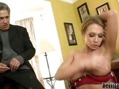 Stunning blonde slut in red lingerie sucking young hard boner