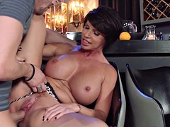 big titted mom indulges man by her wet pussy
