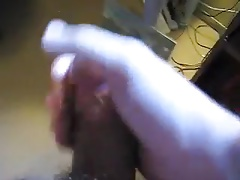 Jacking my fat foreskinless cock