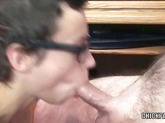 Shelly is swallowing a strangers stiff cock