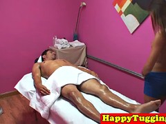 Asian masseuse tugs client in front of the spy camera