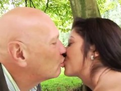 Old teacher and young teen Vivien meets Hugo in the park and