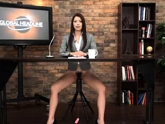 Attractive Japanese news babe gets fucked and facialized