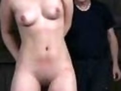 Old pervert has fun with his tied up slave BDSM