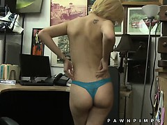 Pawn shop cutie gets naked for cash