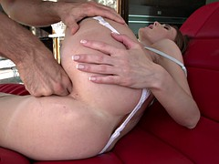 Young slut takes a huge cock in her ass