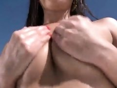 Attractive peach is showing her opened narrow cunt in close-