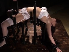 Asian bondage fetishist gets her tight holes drilled rough
