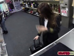 Horny Latina with big tits gets fucked in the pawnshop