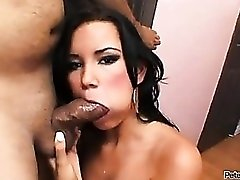 Fat dick cums on her tongue to swallow