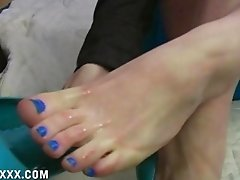 Cuckoldress Mistress comes home from a date with a real man to humiliate her sissy by wiping her cummy feet on her sissy slave's chastity device