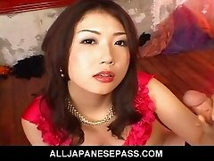 Hatsumi Kudo is a horny Japanese slut that loves cock. She gets to have her fill as two of her fuck buddies stop by and take turns filling her lusciou