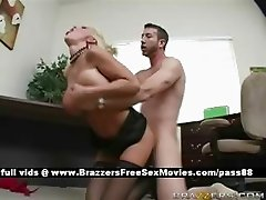 Mature busty blonde slut at work