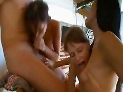 Three girls sucking my huge cock outside