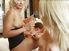Classy blonde rich bitches torturing poor skinny dude