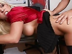 Blonde secretary fucking in her office