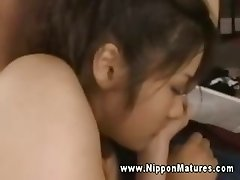 Hottest asian milf sucking cock