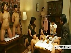 Nudist Japanese bondage slaves are strangely positioned to form a dining room table complete with chairs and appropriate lighting so a wealthy Japanes