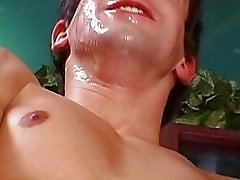 He enjoys mouthful of cum on his face