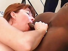 Sexy pale milf brunette gets slammed by two stiff black boners